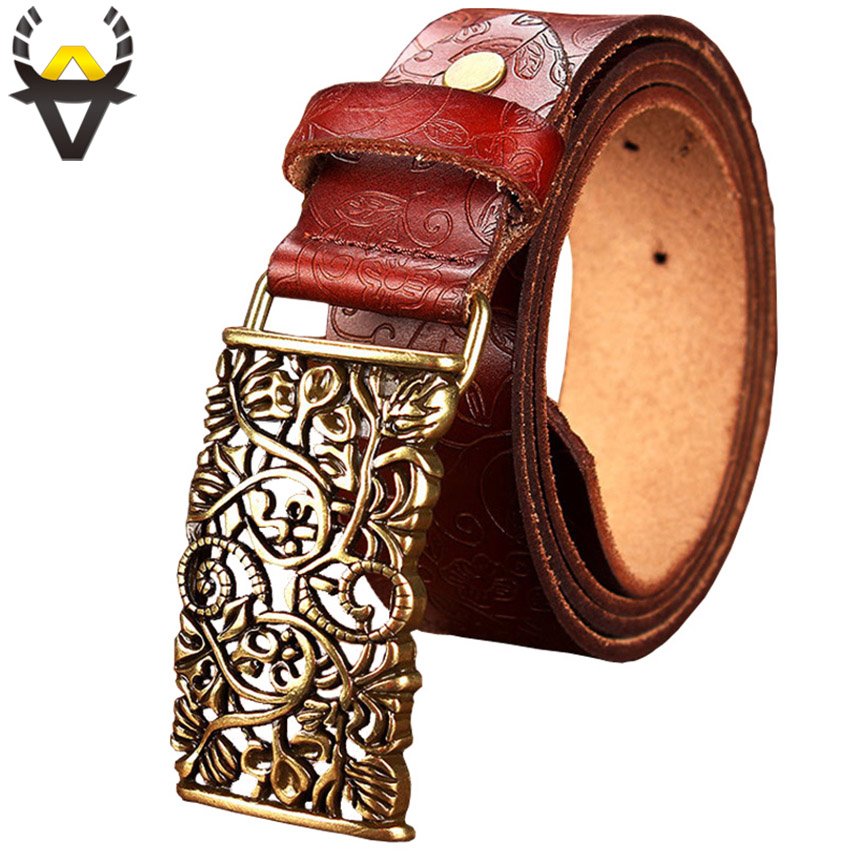 Fashion Genuine Leather Belts For Women Vintage Floral Pin Buckle Belt Woman Quality Second Layer Cow Skin Strap Female Wide 3.2
