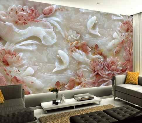 Custom 3d วอลล์เปเปอร์ภาพจิตรกรรมฝาผนัง Non - ทอหยกแกะสลักภาพจิตรกรรมฝาผนัง lotus TV ผนังกระดาษ