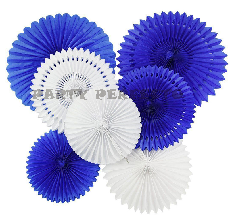 12xNew mixed size 10 12 16 Royal blue white tissue paper fan medallions wedding party wall hanging decorative baby boy shower