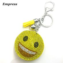Cute Keychain Rhinestone Crystal Keyring Car Key Chain Women Key Holder Ring Bague Smile Face Wholesale Jewelry Gifts new fashion women heart rhinestone keychain pendant car key chain ring holder jewelry exquisite gifts m23