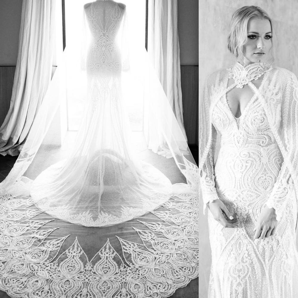 High Neck Lace Vintage Bridal Bolero Shawls With Lace Appliques 3 Meters Custom Made Wedding Cape Cloak