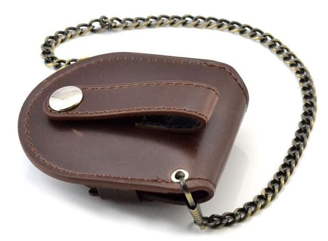 Cubierta marrón Vintage clásica para reloj de bolsillo tipo bolsa con cadena