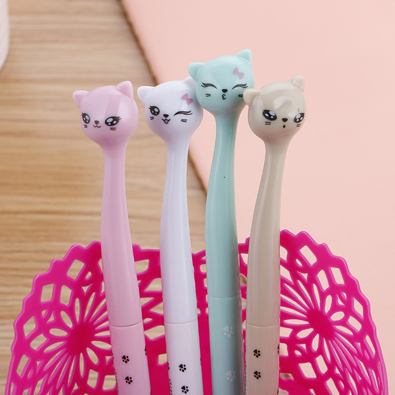 Image 2 - 100 Pcs Creative Stationery Cute High Cat Neutral Pen Learn Stationery Cartoon  Quality Signature Pen Kawaii School Supplies-in Gel Pens from Office & School Supplies