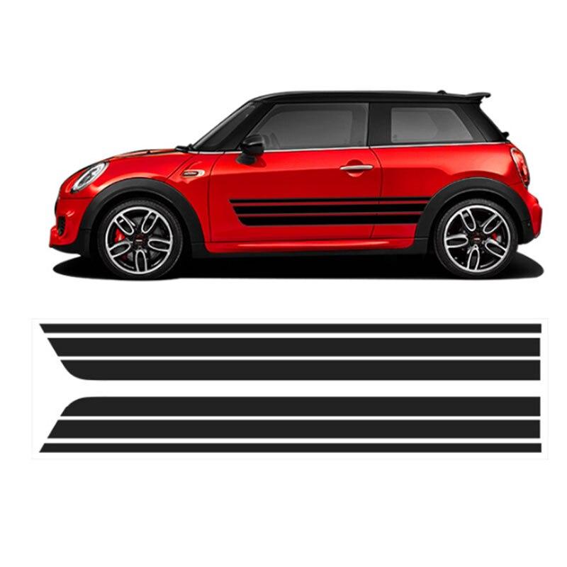 2x автомобиль Стайлинг сторона гоночная юбка в полоску Ограниченная серия наклейки для MINI Cooper R50 R52 R53 R56 R57 R58 R59 F55 F56 F54 - Название цвета: Серый