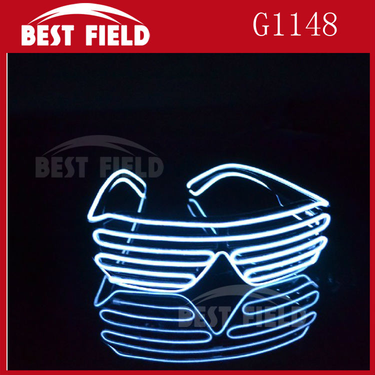 Free shipping El Wire sunglasses LED Lighting flash Shutter Glasses Sound Music Voice Activate led glasses Rave Costume Party