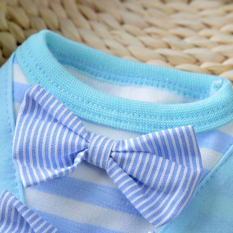 Small Pets T-shirt Puppy Dog Cat Striped Bowknot Vest Shirt Apparel Clothes Hot Sale