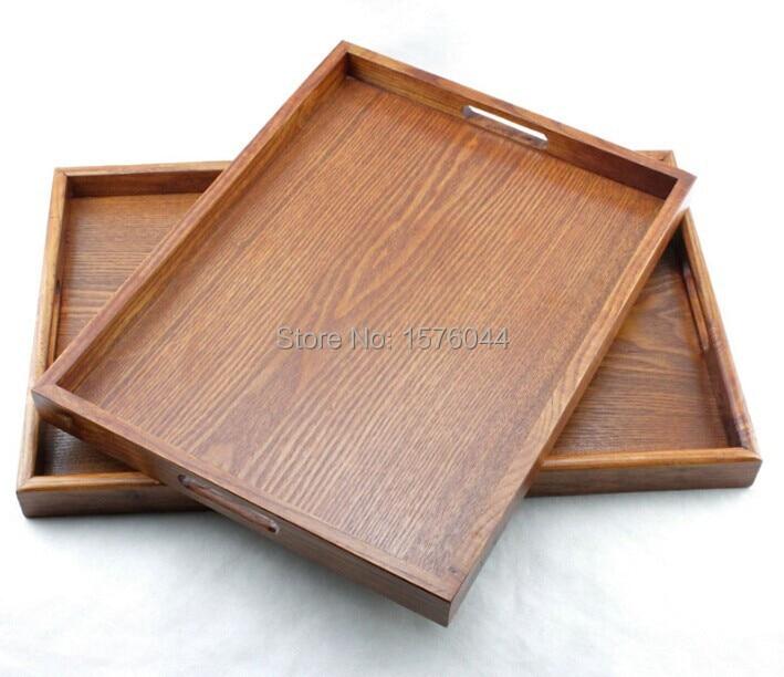 1PC जापानी शैली बड़े आकार की लकड़ी की चाय की ट्रे गर्म घर प्रस्तुत लकड़ी के भंडारण डिस्क पानी के फल व्यंजन ट्रे 42x32cm W0028
