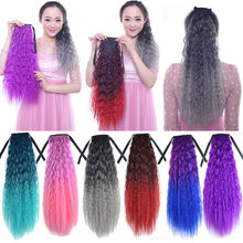 Gradient Color Ribbon Thick Wavy Curly Long Ponytail Horsetail Clip Hair Extensions Dreadlocks African Braids Blue Gray Purple(China)
