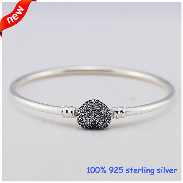 Pulseira de prata com coração-em forma de fecho e New100 % 925 Pulseiras de Prata Esterlina cúbicos de zircônia Pulseira De Prata DIY Atacado
