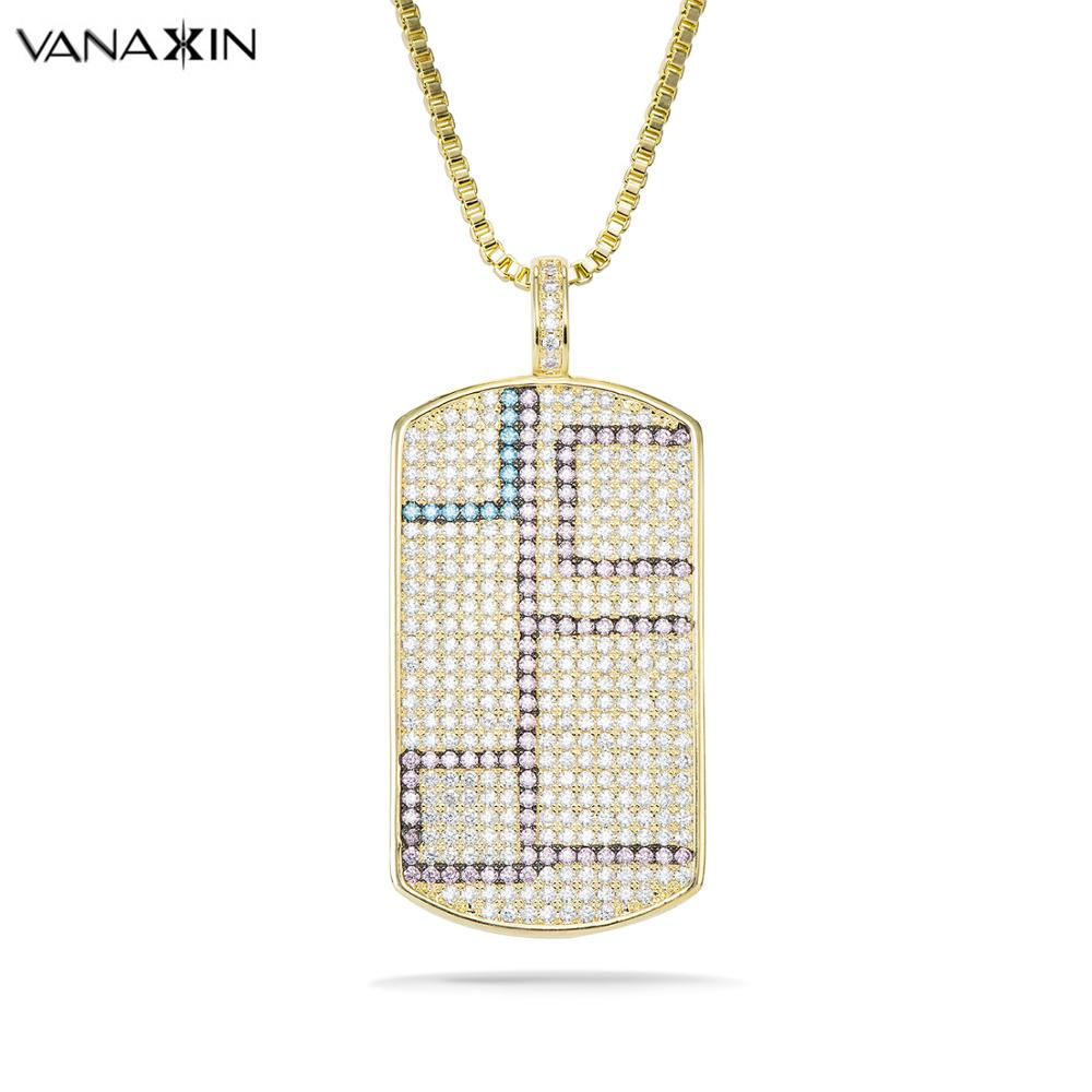 VANAXIN Mens Pendant Filled Iced Out Cubic Zirconia Gold Color Charms Square Dog Tag Necklace Chain Hip Hop Jewelry Gift BoxVANAXIN Mens Pendant Filled Iced Out Cubic Zirconia Gold Color Charms Square Dog Tag Necklace Chain Hip Hop Jewelry Gift Box