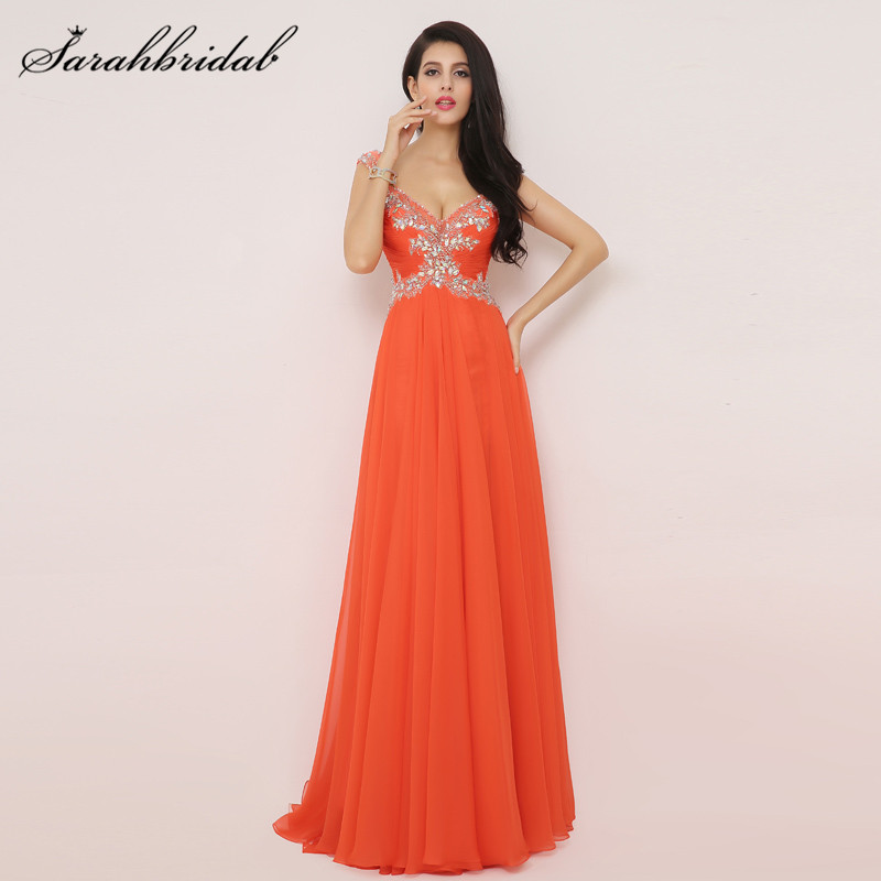 Elegant Orange Chiffon Long Prom Dress A Line Beaded V Neck backless Split Side Evening Gowns