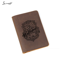 New Harry Potter Passport Holder Hogwarts School Hufflepuff Card Holder Leather Personalized Custom Logo Passport Cover