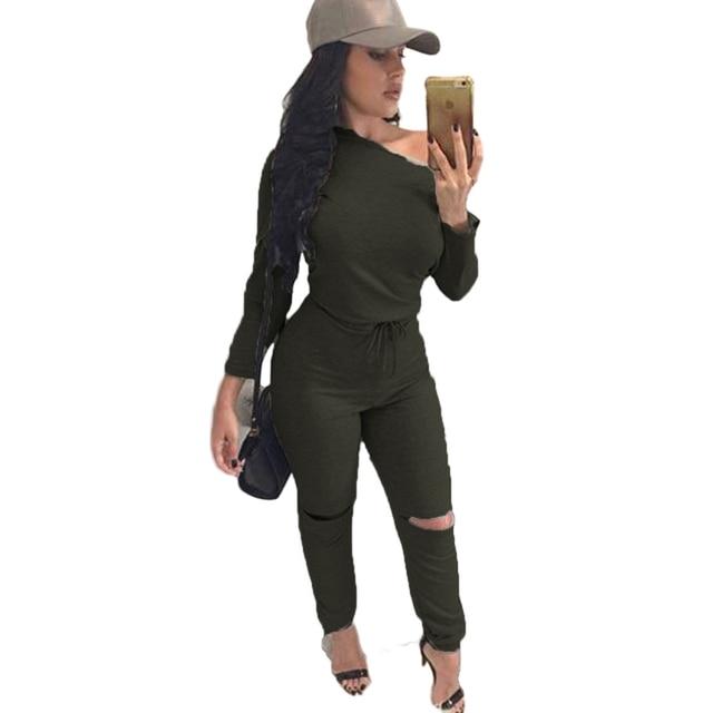 2016 осень осень женщин комбинезоны сексуальная длинные брюки фитнес ползунки боди с длинным рукавом combinaison femme твердые bodycon тонкий