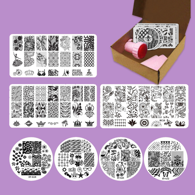 New Nail Art Set Floral Design Stamping Lace Nail Stamp Flower ...