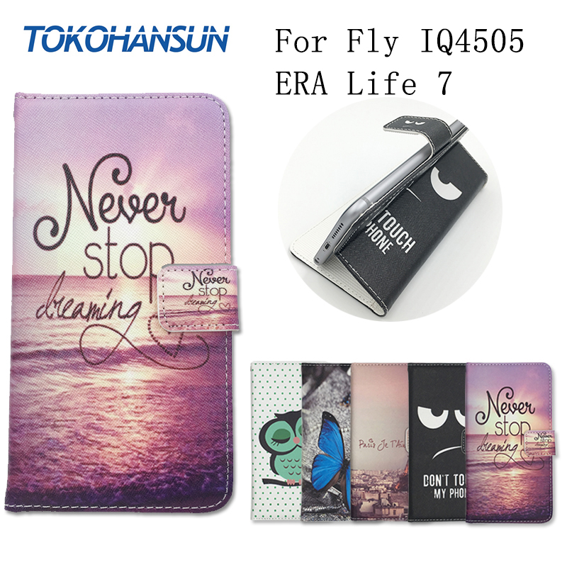 For Fly IQ4505 ERA Life 7 Case Skin Luxury Flip Wallet Cover Pouch PU Leather Cartoon Painting Cases TOKOHANSUN Brand