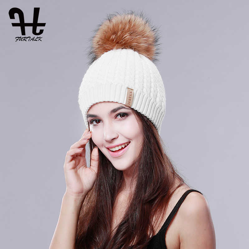 ... Cashmere Wool Fox Pom bobble hat Winter. RELATED PRODUCTS. Furtalk Real  Fox Fur Hat Big Raccoon Pom Pom Hat for Women Knitted Beanie Caps Autumn 115e858dc29a