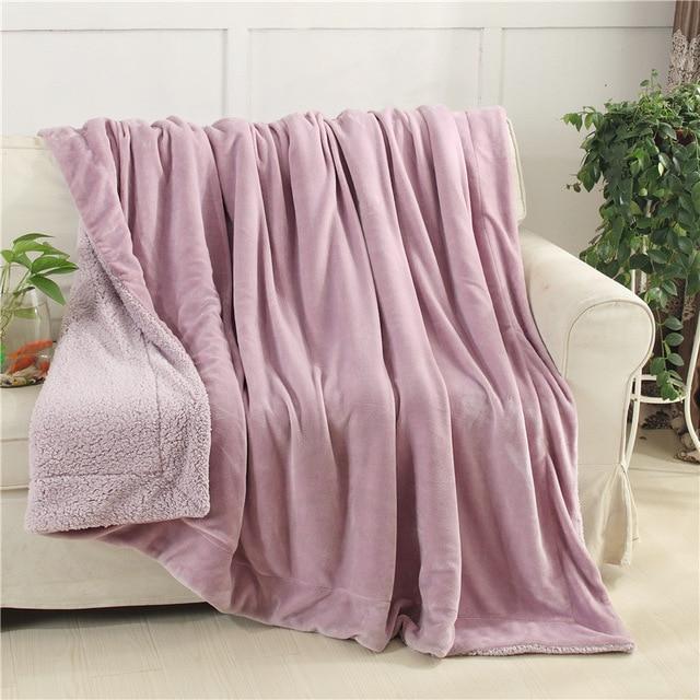 Incroyable WLIARLEO Hot Sale Blankets Flannel Outside Lamb Velvet Inside Children  Blanket Throws For Sofa Warm Pink Blankets Frazadas Polar
