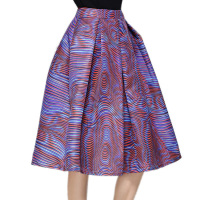 Women Skirts Colorful Striped Printing Midi Skirt Female High Waist Lovely Ladies Vintage Falda Tutu Casual Pleated Skirts Saia