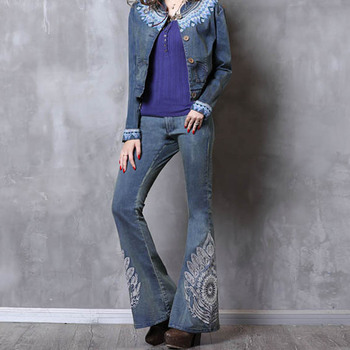 Free Shipping 2018 New Vintage Long Pants Women Embroidery Flower Trousers S-L Denim Jeans Spring And Summer Blue Flare Pants цена 2017