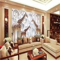 beibehang papel de parede 3d wallpaper wall painting high giraffe stereo TV background modern mainland 3d fresco wallpaper