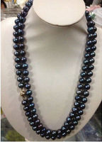 hot Natural AAA 9 10mm AAA Black Tahitian Pearl Necklace 54