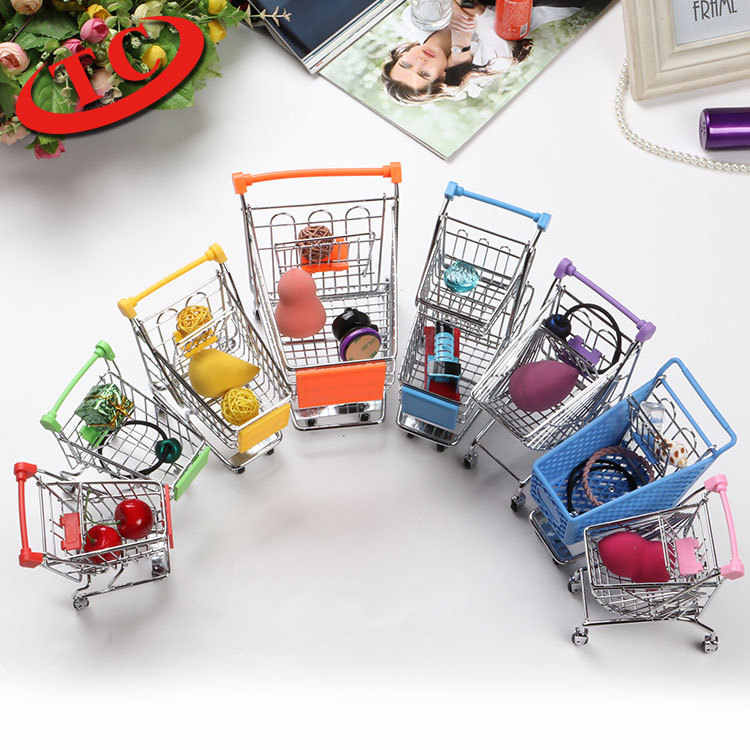1/12 1/6 Mini shopping cart metal supermarket trolley home office scene dollhouse accessories kids play house toy