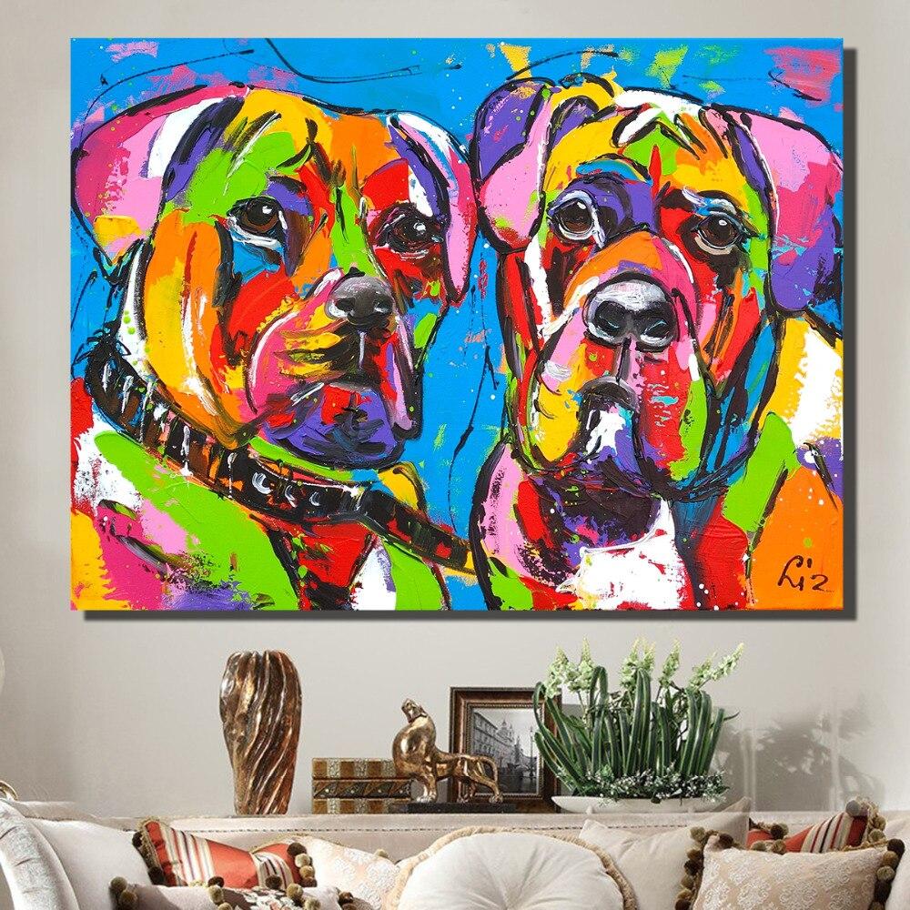 HDARTISAN Vrolijk schilderij Wand Kunst Bild Tiere Leinwand Öl Malerei Poster und Drucke Bunte Zwei Hunde für Wohnkultur