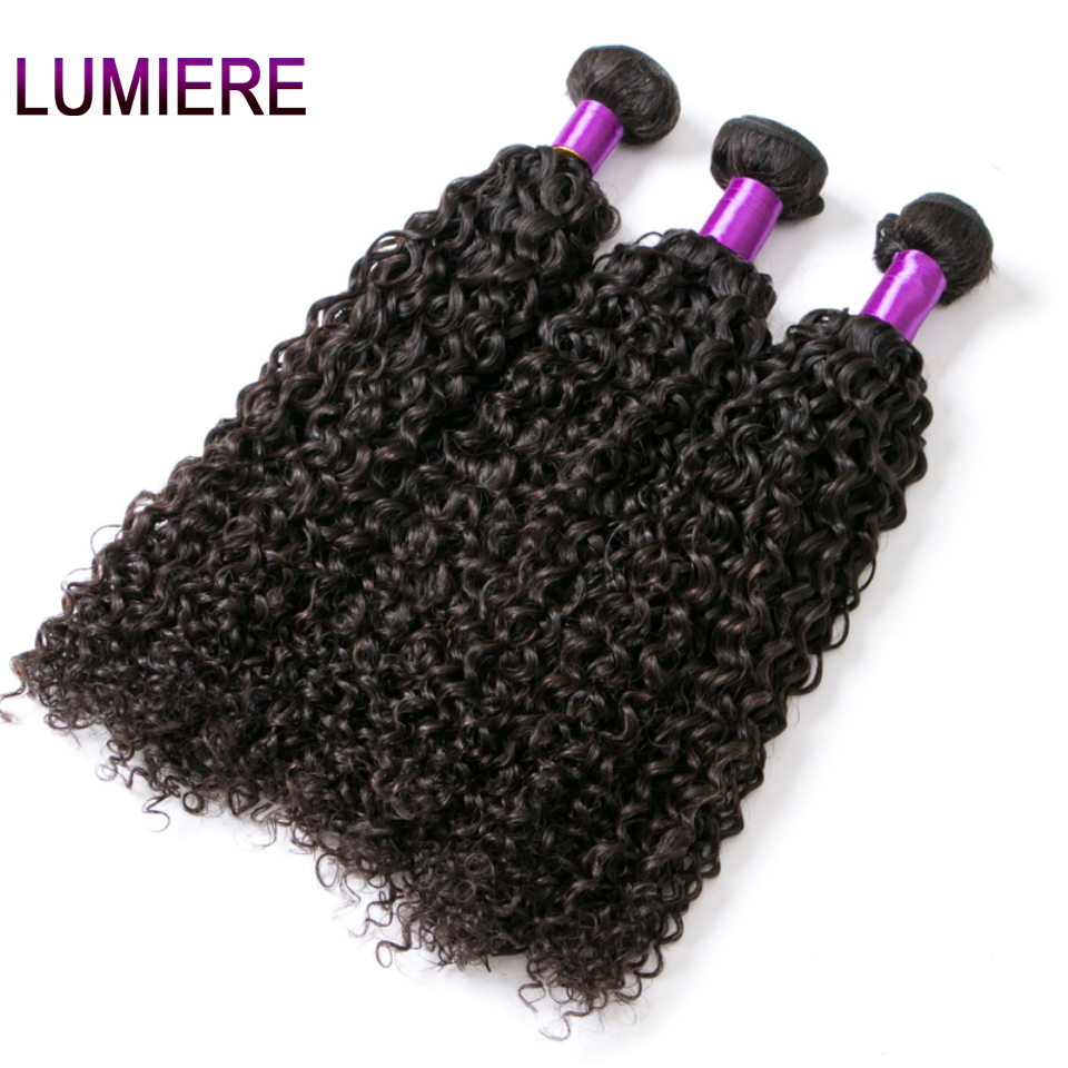 Lumiere Hair Indian Afro Kinky Curly Weave Human Hair Extensions 100g Non Remy Weave Can buy 3/4 Pcs Natural Black Hair Bundles