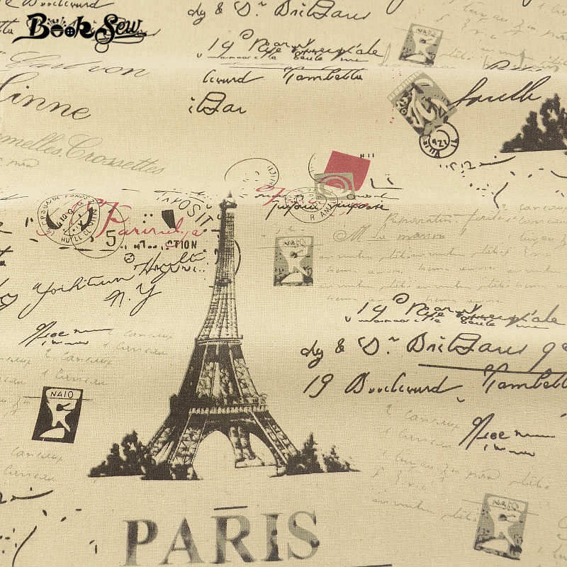 Booksew Eiffel Tower Design Cotton Linen Fabric For Tablecloth Pillow Bag Curtain Cushion Zakka Home Sewing Material Tissu