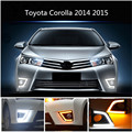 Led de alta Potência Super Brilhante Luz de Circulação Diurna Para Toyota Corolla 2014 2015 Com Âmbar Turn Signal Nevoeiro Buraco DRL