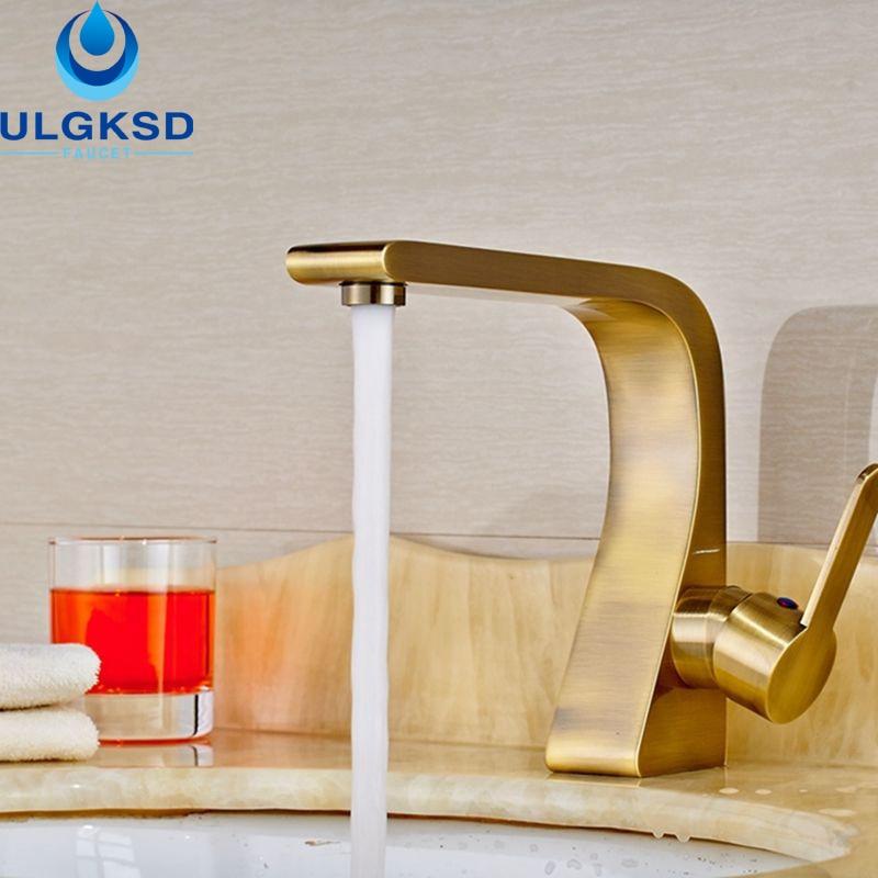 ULGKSD Basin Sink Faucet Deck Mounted Mixer Tap Antique Brass Single Handle Bathroom Faucet brand new for hp z820 z840 server heat sink workstation 749598 001 cooling fan 647113 001