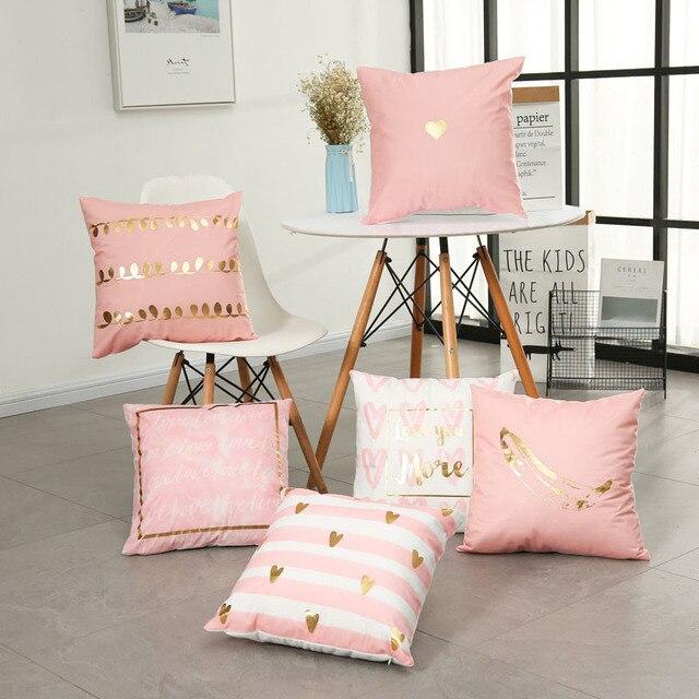 Aliexpress Buy Golden Heart Pink Pillow Cover Gold Princess Impressive Pillow Decor Ltd