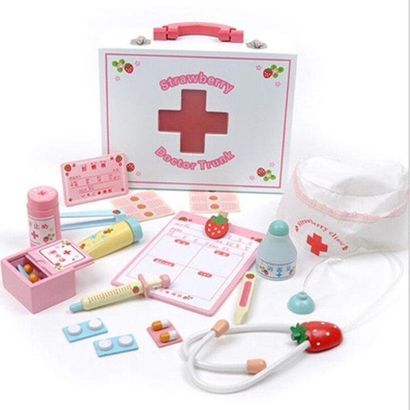 Bébé enfant jouets docteur ensemble jouer maison en bois jouet Simulation armoire à pharmacie boîte docteur jouet éducatif jouer maison medichine jouets