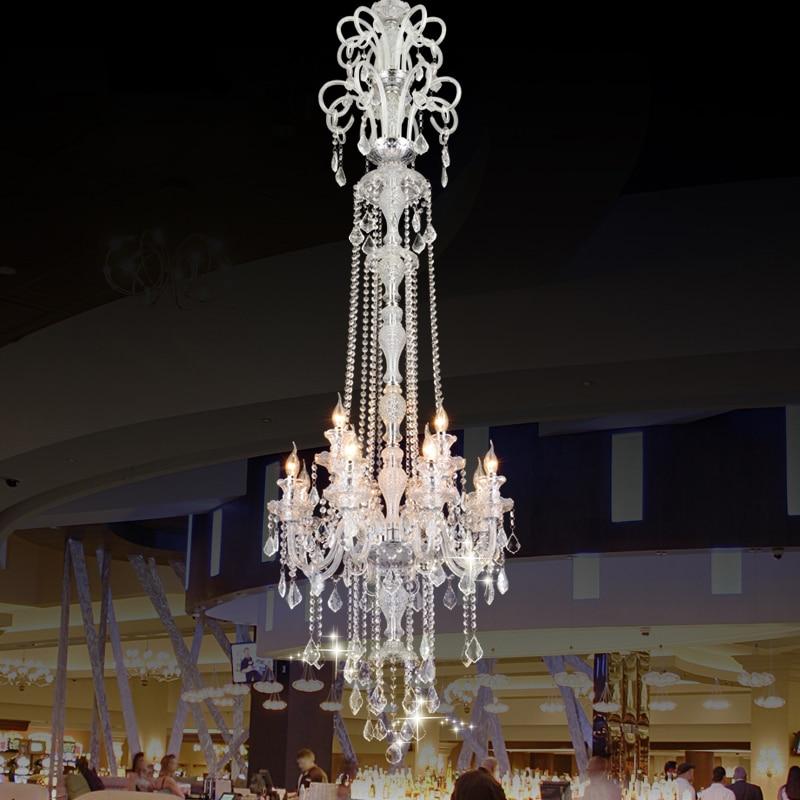 Luxury extra Long crystals lobby large Modern crystal pendant light fashion lighting hybrid-type stair pendant light lamp free shipping rotating 681 bohemia stair lamp crystal large pendant light