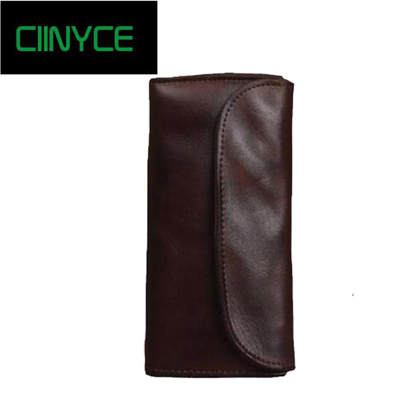 Retro Male Cowhide Clutch Long Bifold Coin Pocket Genuine Cow Mens Leather Zipper Soft String Card Holders Purses Wallets