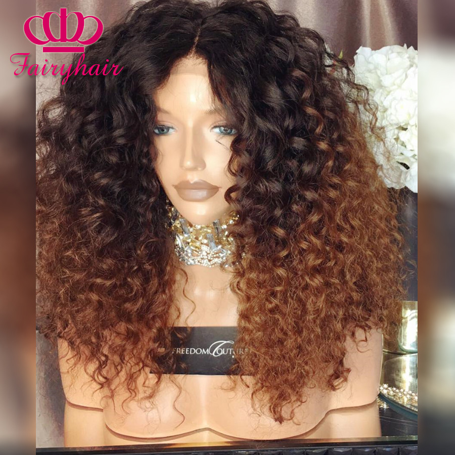 Ombre Curly Synthetic lace front wig kinky curly glueless heat resistant synthetic lace front wig for black women ombre brown wig