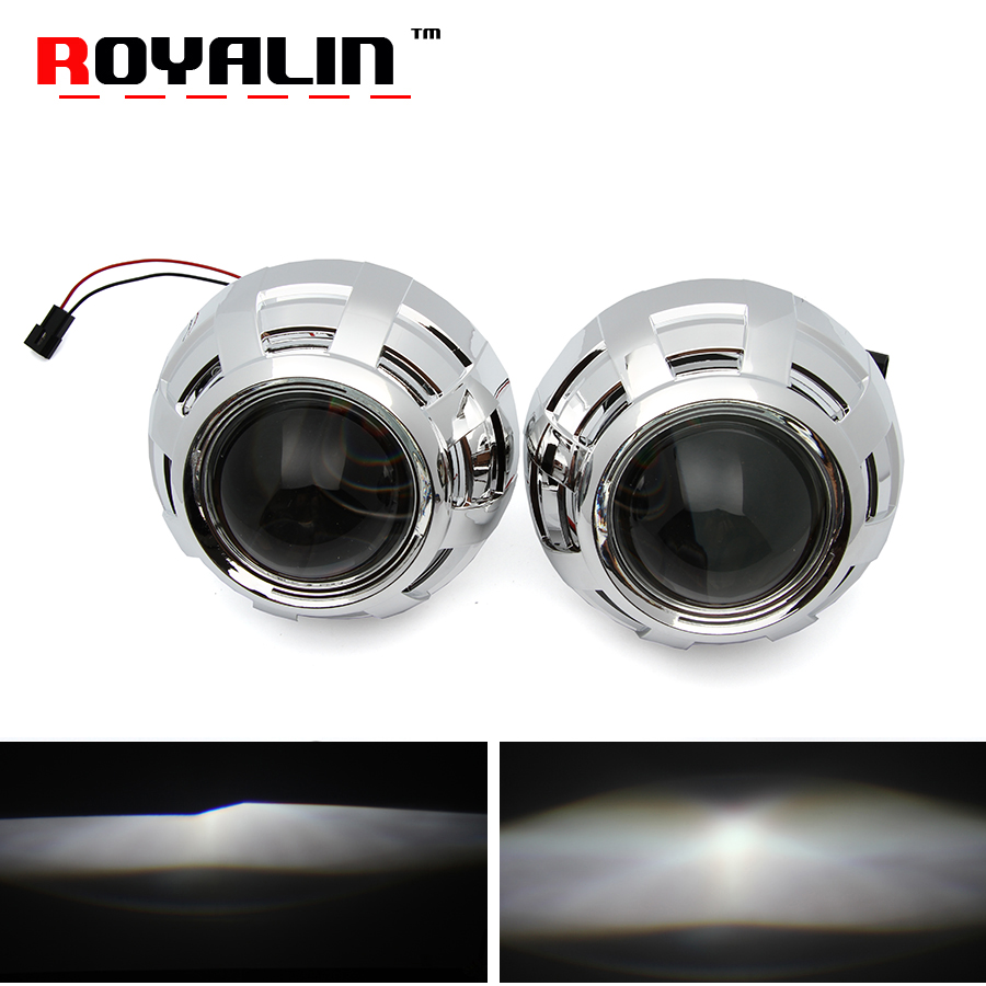 ROYALIN Metal European Standard Xenon Lens H1 Projector Headlight with Mini Gatling Gun Masks for H4 H7 Car StylingLight DIY