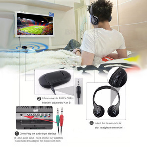 Image 3 - Professional Wireless TV Headset Stereo Headphones with transmitter Home FM Radio TV Over ear Headset For Computer Phone MP3
