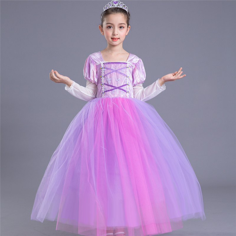 ABGMEDR Girls Rapunzel Dresses Children Tangled Rapunzel Dress Kids Party Cosplay Costume Girls Purple Princess Dress Clothes цена 2017