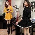 Back Cross Straps Women Dress Vestido A-line Slim Fashion Elegant Lace Hem Bubble Female Girl OL Office Sweet Lovely Dress Robe