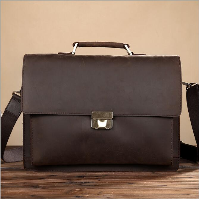 MAHEU Men Vintage Genuine Leather Briefcase 14