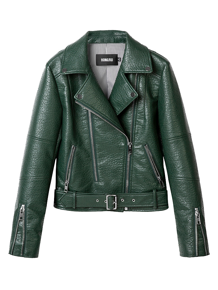 2018 Autumn   Leather   Jacket Women Green Short Motorcycle PU Long Sleeve High End   Leather   3 Colors Biker Coat HR1018