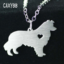 1pc Border Collie Necklace Dog Pendant Pet Jewelry Silver Charm Personalized Pets Dog Animal Pendants Necklace Memorial Gift(China)