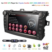 8 Touch Screen Stereo Radio Car CD DVD Player GPS Navigation for Toyota Corolla 2007 2011 BT TPMS DAB+DVBT SWC DVR RDS Maps Cam
