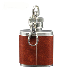 1Oz Mini Stainless Steel Hip Flask with Leather Personalized Portable Wine Flask with Key Chain