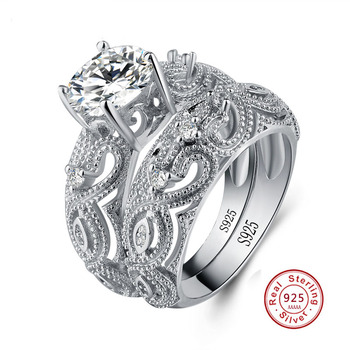 טבעת יוקרתית מכסף 925 ואבן קריסטל
