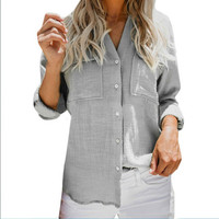 Simple Casual Long sleeved Shirt Shirt Button Pocket Decoration V neck Solid Color Office Worker Women Plus Size Clothes