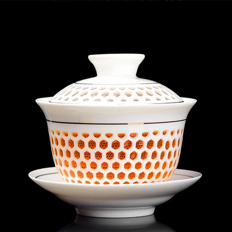 Jingdezhen cubre tazas de té de tazón, té de Kung Fu chino, - Cocina, comedor y bar