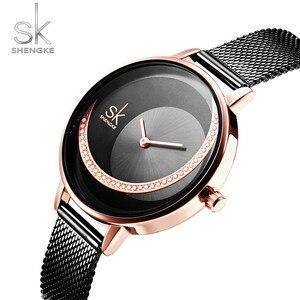 Image 5 - Shengke Crystal Lady zegarki luksusowa marka kobiety sukienka zegarek oryginalny Design zegarki kwarcowe kreatywny Relogio Feminino