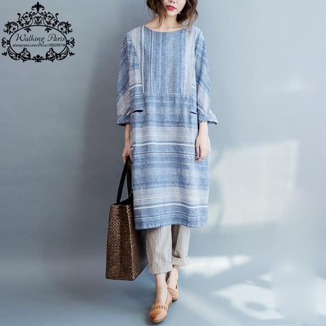Women Dress Big Size Striped Print Cotton and Linen Summer Fashion Casual Female Plus Size Vintage Blue Autumn New Long Dresses